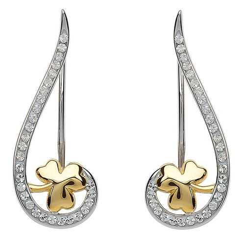 Silver Shamrock Climber Earrings With Swarovski Crystal