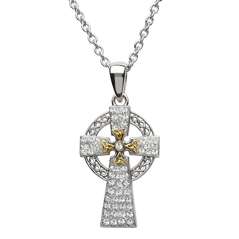 Two Tone Celtic Cross Silver With Gold & Swarovski Crystal