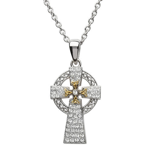 Silver Two Tone Cross With Swarovski Crystal