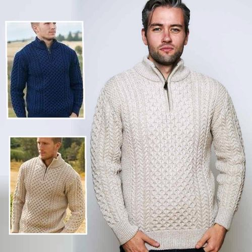 Half Zip Aran Sweater