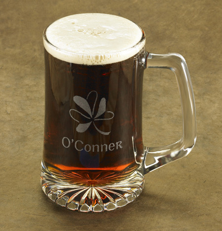 Personalized Shamrock Glass Beer Mug
