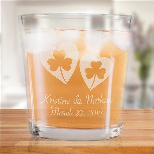 Personalized Shamrock Hearts Rocks Glass