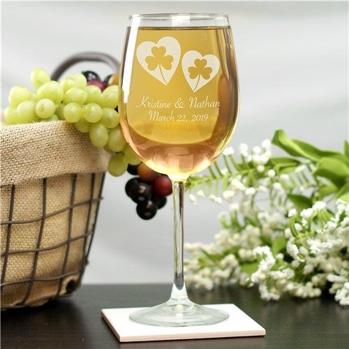 Personalized Shamrock Hearts Wine Glass