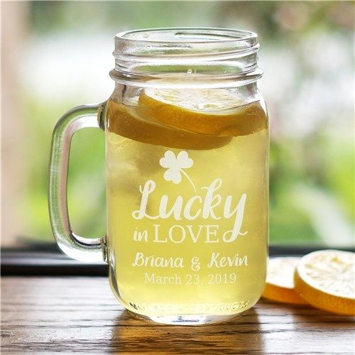 Personalized Lucky In Love Mason Jar
