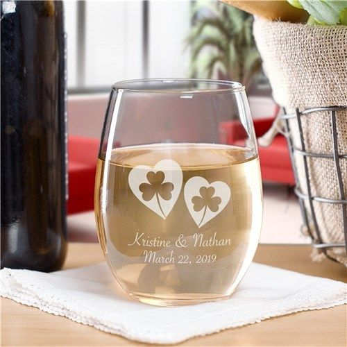 Personalized Shamrock Hearts Stemless Wine Glass