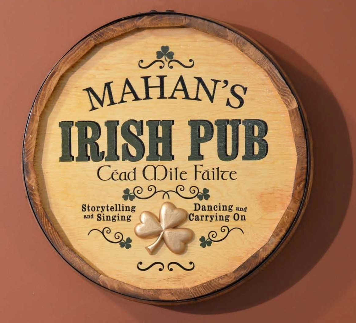 Irish Pub Quarter Barrel Wall Sign