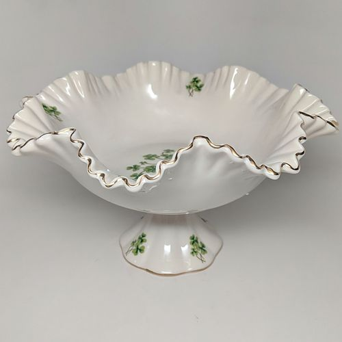 Ceramic Compote Dish With Shamrocks