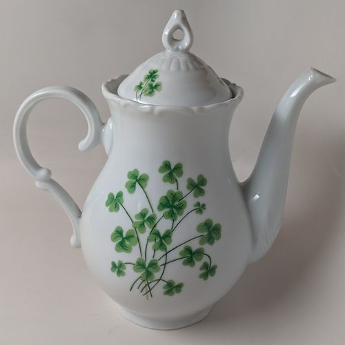 Ceramic Shamrock Coffee Pot