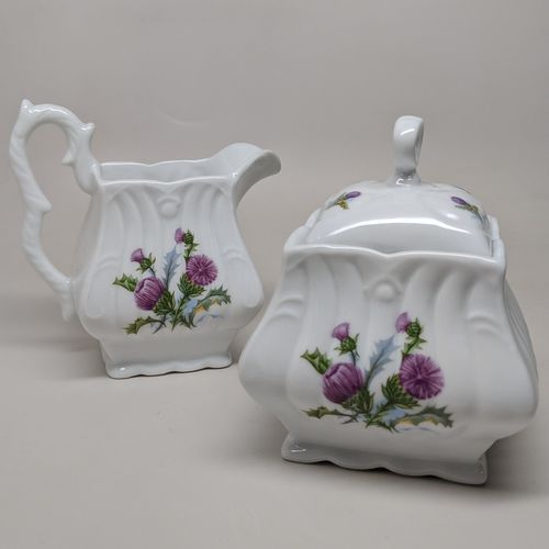 Square White China Creamer & Sugar - Scottish Thistle