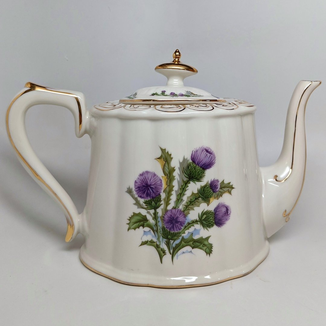Pointed Ivory Tea Pot ~ Scottish Thistle