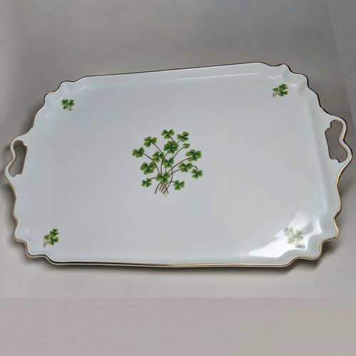 Large White Shamrock Tray With Handles