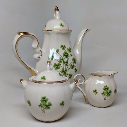 Small Shamrock Ivory Tea Set