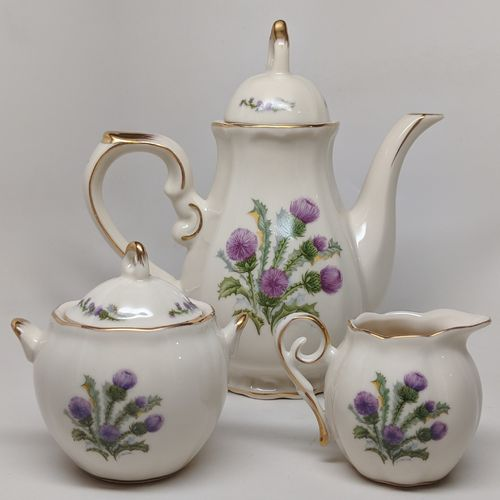 Small Ivory Scottish Thistle Tea Pot