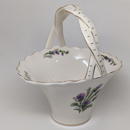 Scottish Thistle Medium Ivory Basket