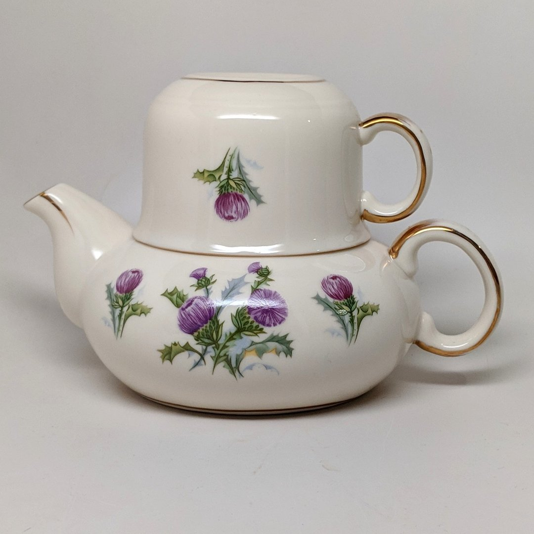 Ivory Tea For One Scottish Thistle Tea Pot