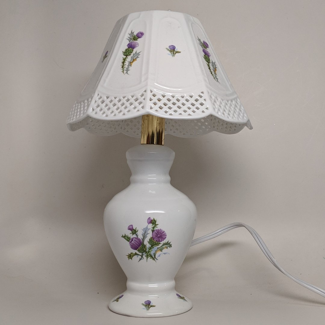 White Octagon Shade Lamp ~ Scottish Thistle