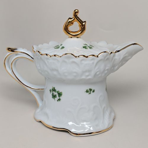 Ornate White China Shamrock Creamer