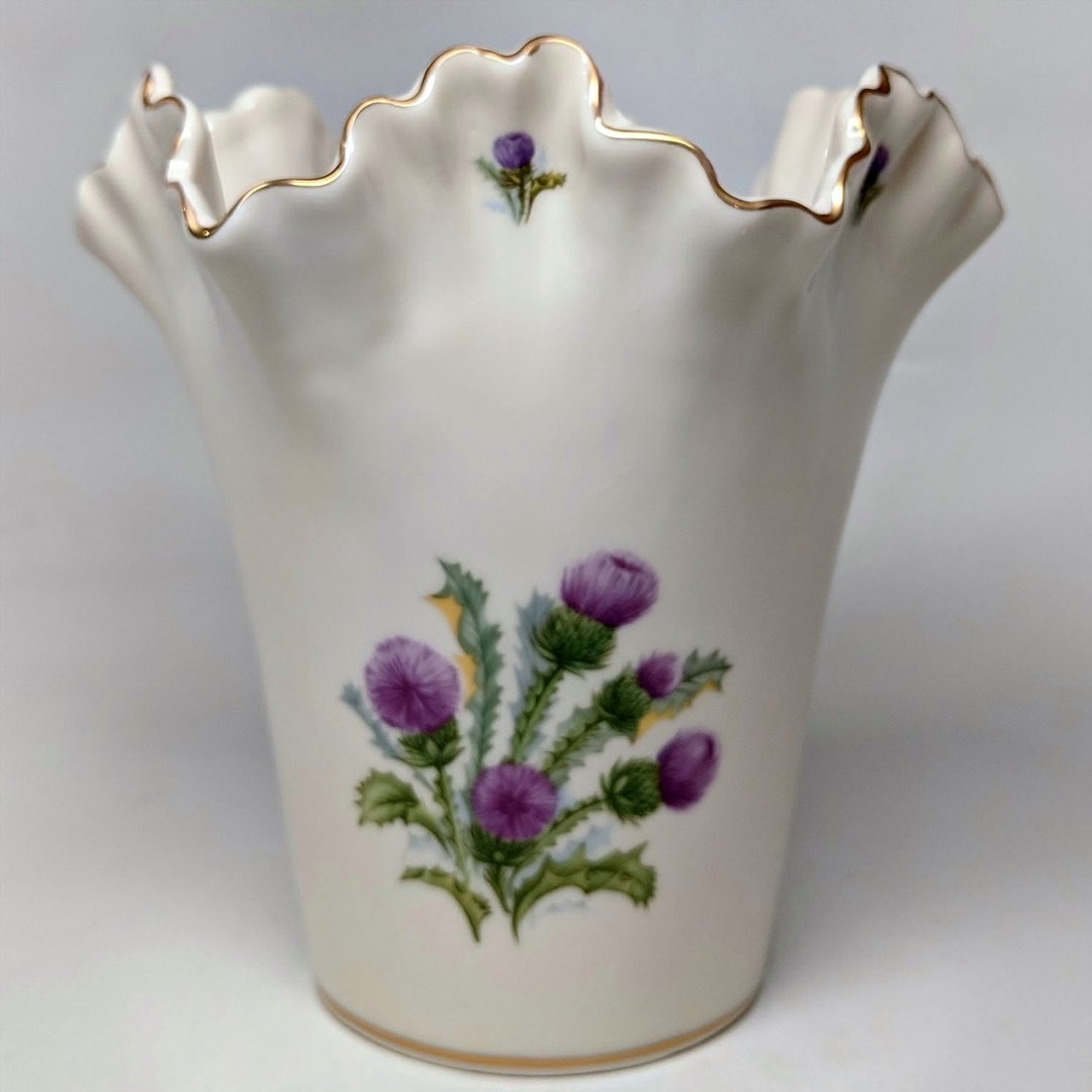 Ivory Ruffle Vase With Scottish Thistle ~ Medium
