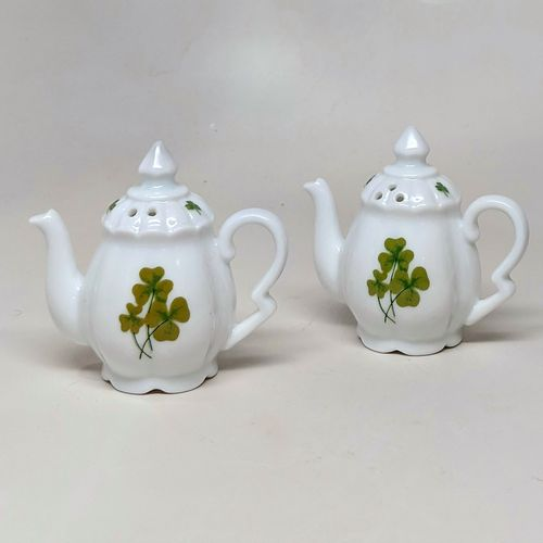 White China Tea Pot Salt & Pepper Shakers - Shamrocks