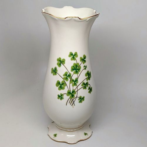 Tall Ivory Shamrock Vase - Gold Trim