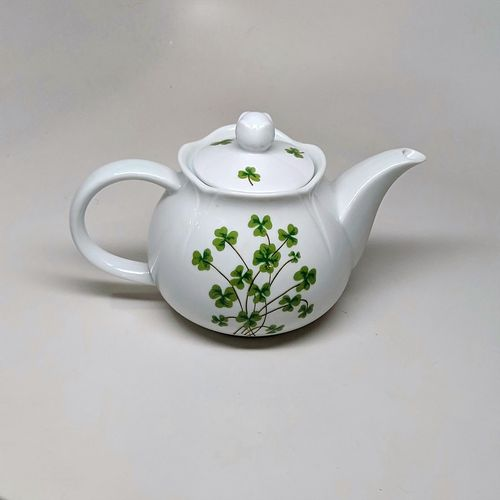 Small White China ShamrocK Tea Pot