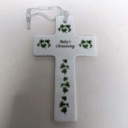 Baby's Shamrock Christening Cross
