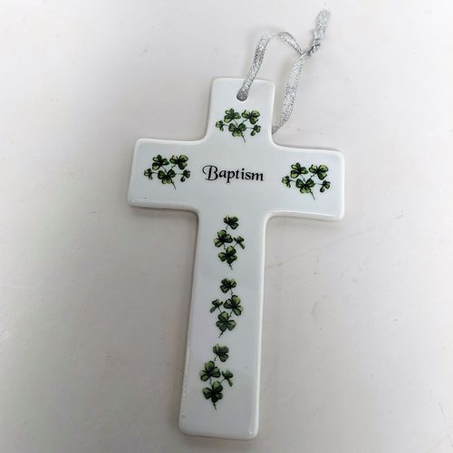 White China Shamrocks Baptism Cross