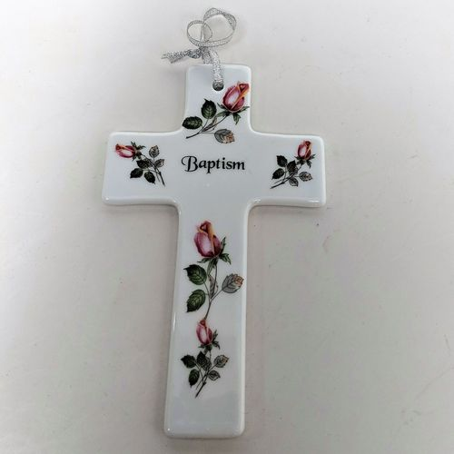 Hanging China Baptism Cross ~ Roses