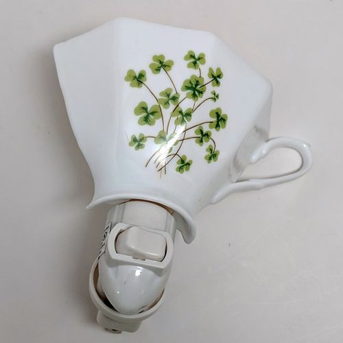 White China Tea Cup Shamrock Night Light