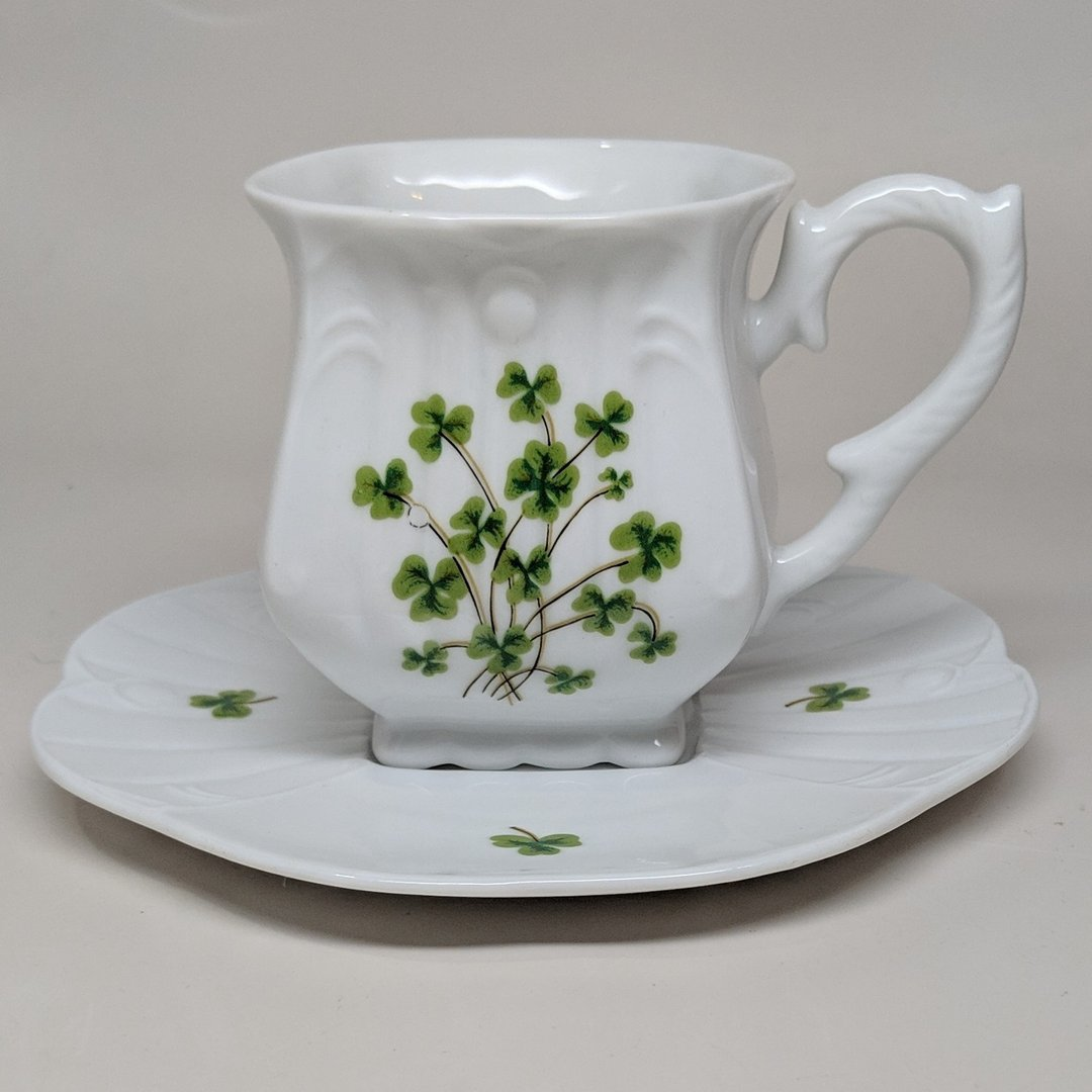 White China Square Shamrock Tea Cup
