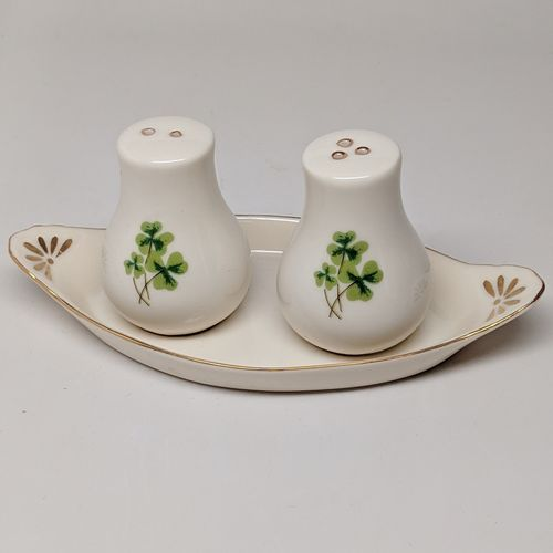 Ivory Shamrock Salt & Pepper Shakers With Tray