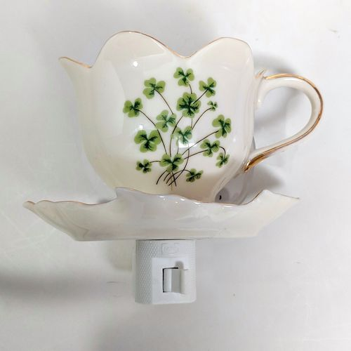 Ivory Tea Cup Shamrock Night Light