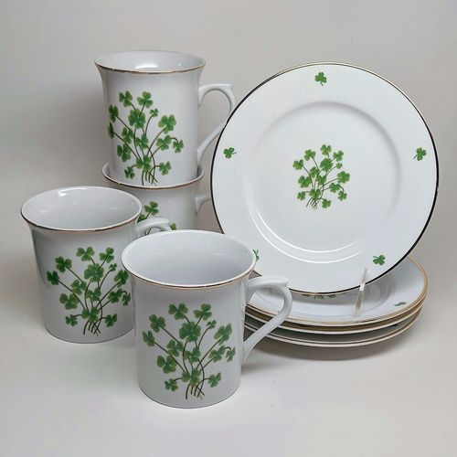 Shamrock Matching Mug and Plate Set ~ Set of 4 Each