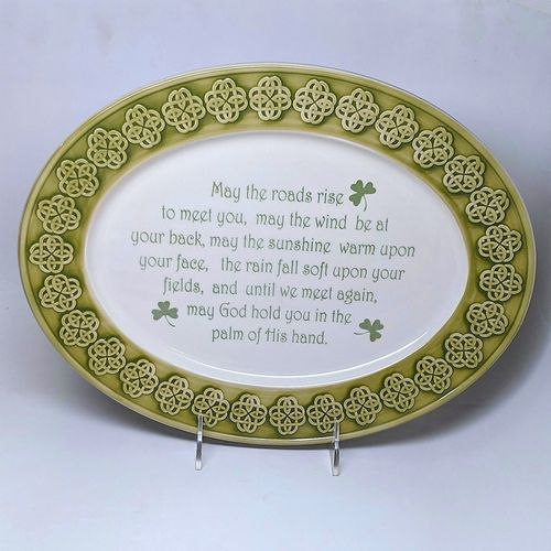 Celtic Knot Green & White Oval Platter