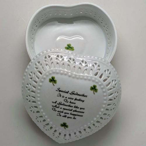Ceramic Jewelry Heart Box Shamrocks ~ God Mother
