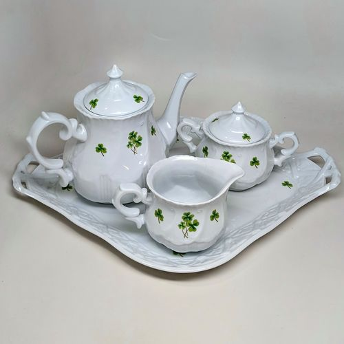 White China Tea Set with Ribbon Handle - Shamrocks