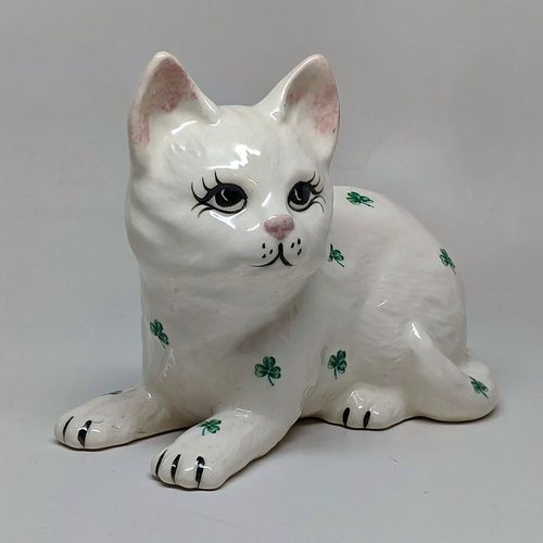 Ceramic Lay Down Kitty Cat With Shamrocks