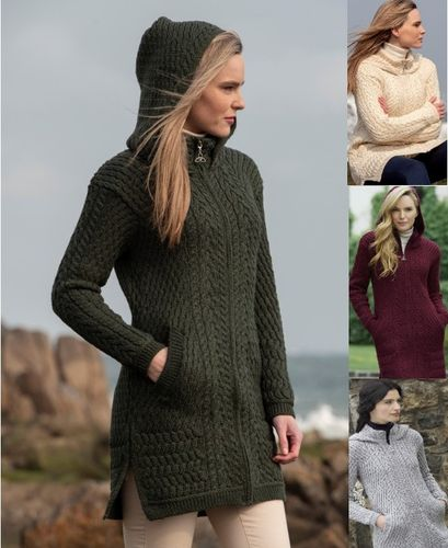 Long Hooded Sweater Coat ~ Irish Wool Zipper Sweater