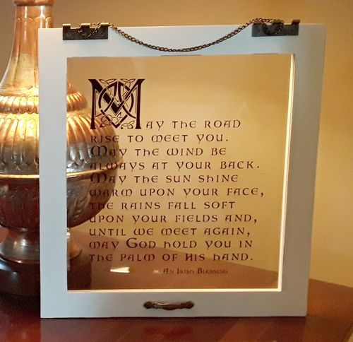 May the Road Rise ~ Irish Blessing Glass Window