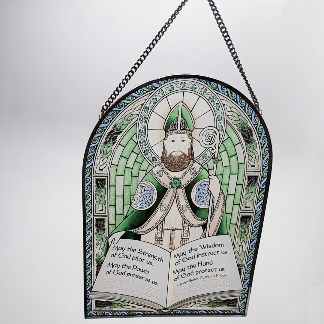 St Patrick Glass Sun Catcher or Plaque ~ Abbey Press
