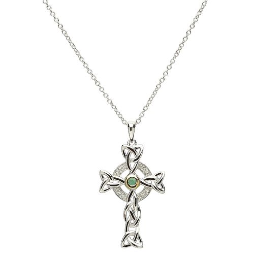 Celtic Trinity Cross Necklace Silver Diamond & Emerald