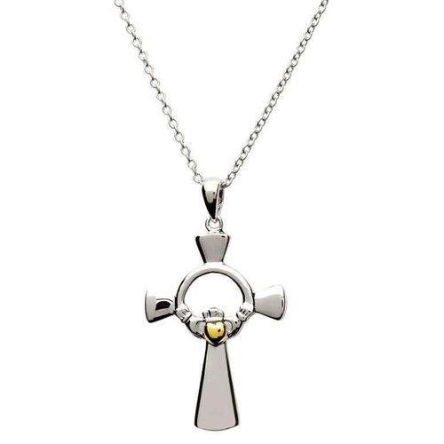 Claddagh Silver Cross with Gold Heart