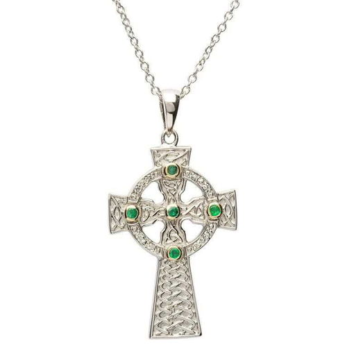 Emerald Set Celtic Knot Design Cross