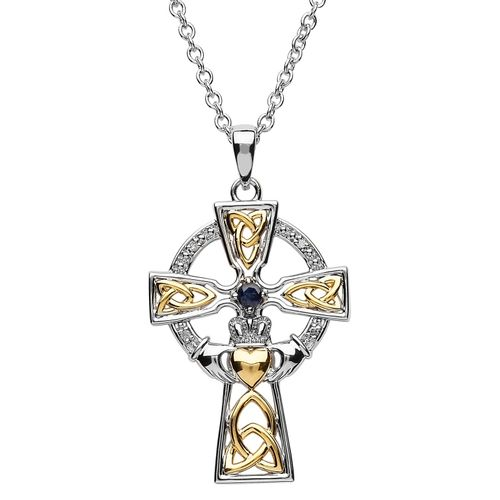 Silver Celtic Trinity Cross Set With Sapphire And Diamond