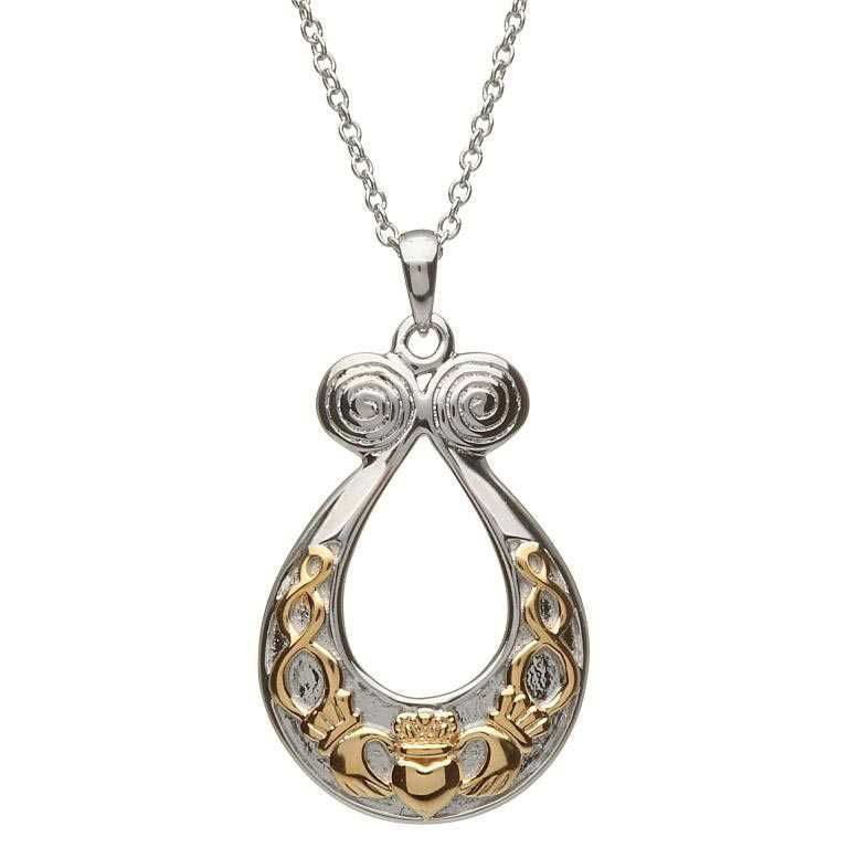Oval Claddagh Pendant Silver & Gold
