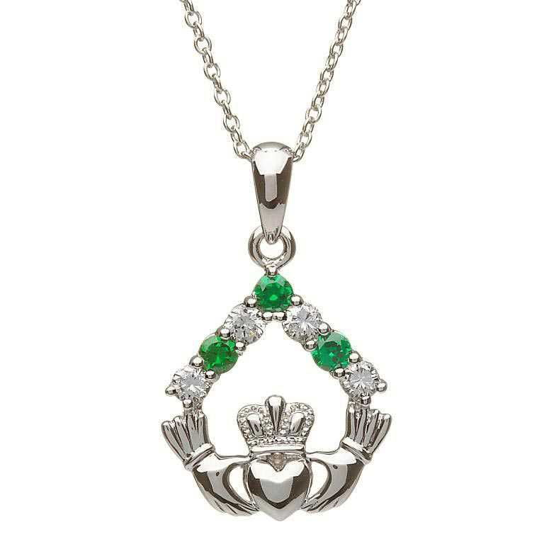 Claddagh Necklace Silver Shiny Green Stones