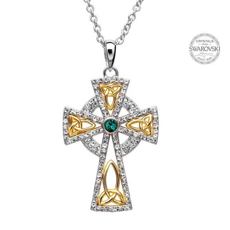 Sterling Celtic Trinity Cross With Swarovski Crystals & Gold Plate