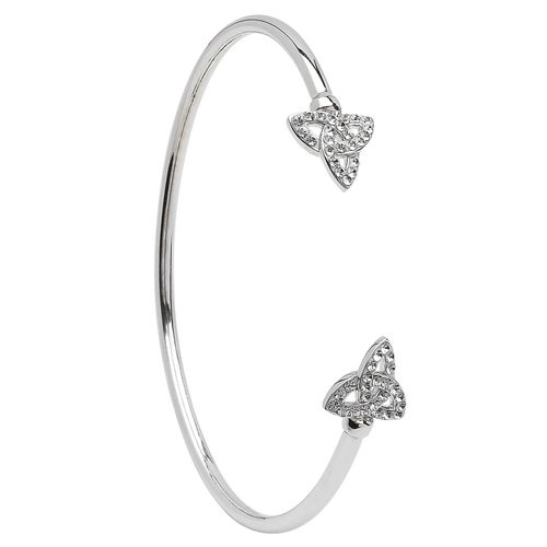 Silver Celtic Trinity Bangle Adorned With Swarovski Crystal