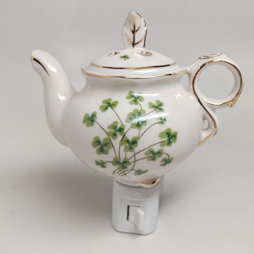 Ivory Tea Pot Night Light ~ Shamrocks