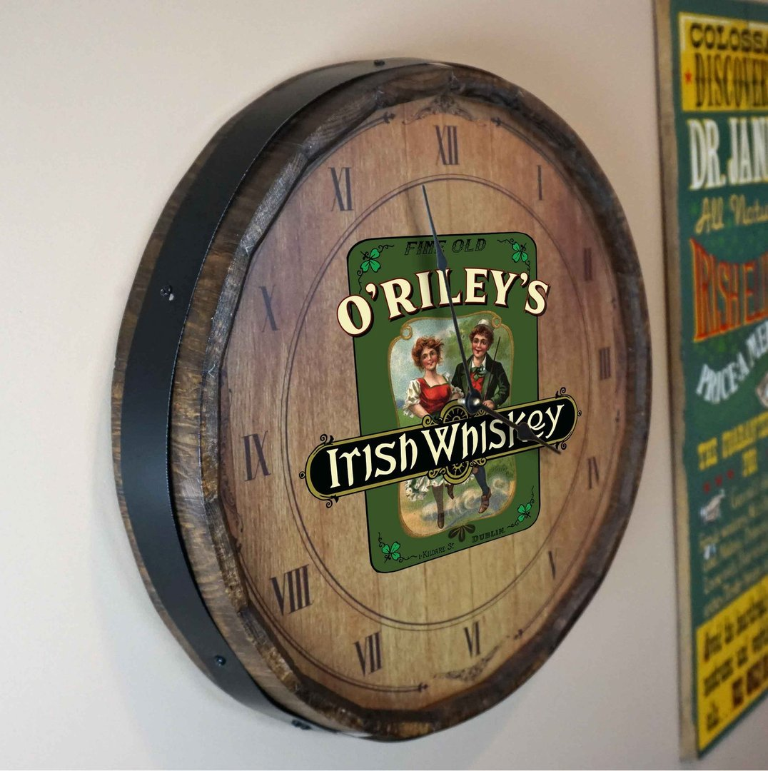 Personalized Irish Whiskey Quarter Barrel Clock